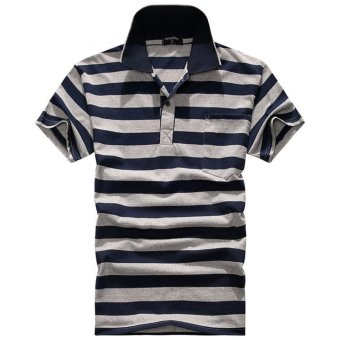 Men's Fashion Stripes Lapel Short Sleeve Polo Shirt Cotton T-shirt DF36 - intl