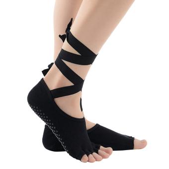 Perempuan non-slip pembalut Kapas diikat Toeless Yoga pilates olahraga ruang olahraga dansa balet kaus