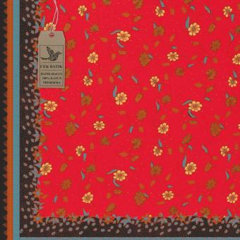 Cek Batik - Kain Batik Motif Manis Bunga dan Daun (Merah) .