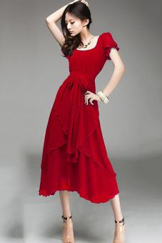 GETEK Wanita Vintage Lengan Pendek Panjang Gaun Malam Pesta Bola Tidak Teratur M-XL(