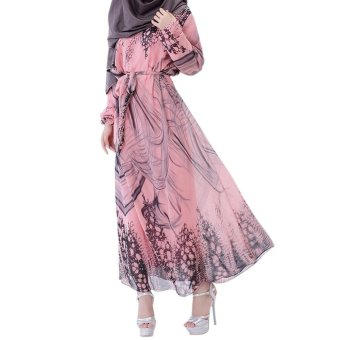 Harga Amart Women Abaya Muslim Maxi Dress Islamic Turkish Clothing Robe Modal Dresses with Belt(Pink) - intl