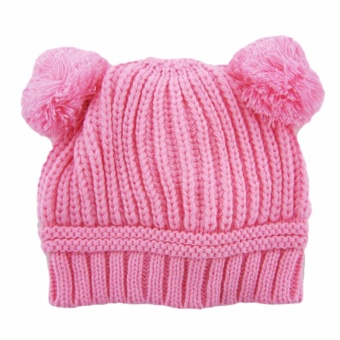 Harga Hequ new chic Double Ball Cute Knit Hat Korea Version for Fall winter Beanie Baby Hat Pink - intl