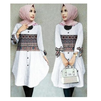 168 Collection Atasan Blouse Azizah Tunik-Putih