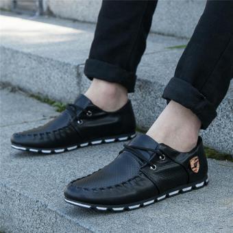 Korea Fashion Style Bernapas Jala Jala Sepatu Lari Sepatu Pria (H-8 hitam)