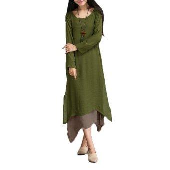 Qiaosha ZANZEA Boho hippie kasual wanita lengan baju panjang sprei katun panjang gaun maxi Amy hijau - Internasional ...