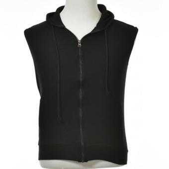 Mens Casual Slim Sleeveless Zipper Hooded Gym Hoodies Vest Coat Waistcoat Black - intl ...