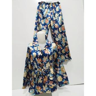 Harga Fortune Fashion Piyama Satin Flower - Navy