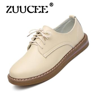 Harga ZUUCEE Spring leather casual shoes female Korean version of the tide of the tie with the flat single shoes students breathable small shoes(beige)