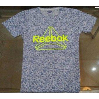 Kaos Unisex Crew Neck Tshirt Reebok Logo Grey .
