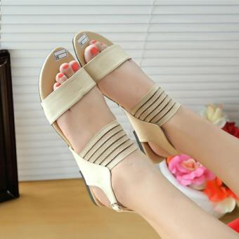 Harga Arlaine Six Trap Flat Sandals [Cream]
