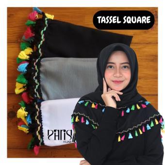 parisku hijab paket daily segiempat katun premium tassel black