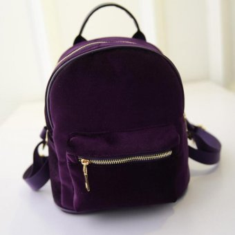 Harga Amart Women Velvet Backpacks Fashion Girls Zipper Street Bags (Purple)