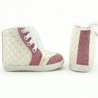 TrendiShoes Sepatu Boot Anak Perempuan Tali Kece DM - Putih Pink - 2 .