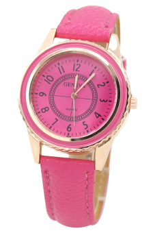 Harga BlueLans Faux Women's Pink Leather Strap Watch