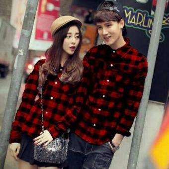 legiONshop - Kemeja Pasangan / Couple Shirt-MARLEY-red black .