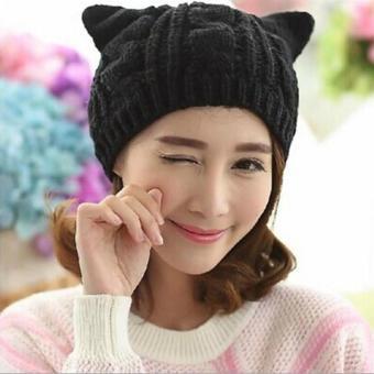 LALANG Cute Women Cat Ears Knitted Beanie Hat Autumn Winter Cap (Black)