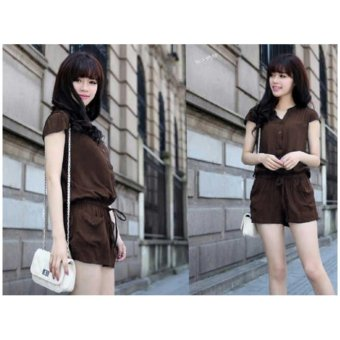 Harga kyoko fashion jumsuit simple-(coklat)