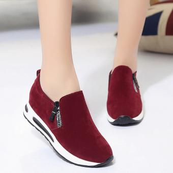 Harga Women Shoes Fashion Zipper Letter Decor Breathable Casual Shoes Women High Heel Platform Air Shoes Faux Suede Round Tote ( Red ) - intl