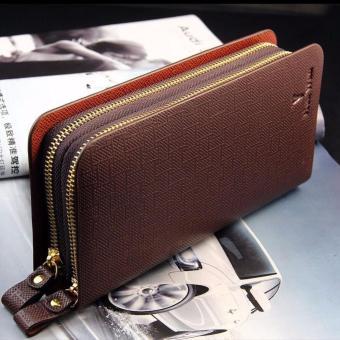 Men's Leather Bifold ID Card Holder Zip Wallet Clutch Brown - intl .
