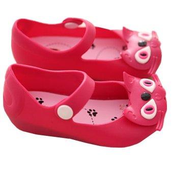 I63 Anak Fashion Musim Panas Tali Pengait Kaki Gadis Itu Kucing Cewek Sepatu Sandal Jelly Warna