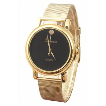 Harga Geneva 640962 Women Watch Mesh Band Alloy Strap Watch - Gold