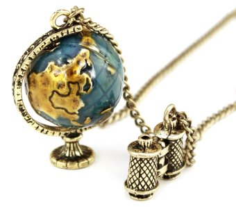 Harga Vintage Globe Telescope Shape Pendant Necklace Bronze