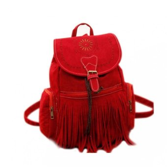 Harga Amart Tassel Backpack Retro Women's Vintage Street Bag (Red)