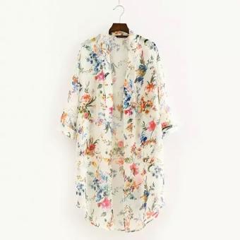 ... kain tipis sutera. Wanita busana Wanita 3/4 baju lengan 24 coming to bunga asimetris kampuh leher blus