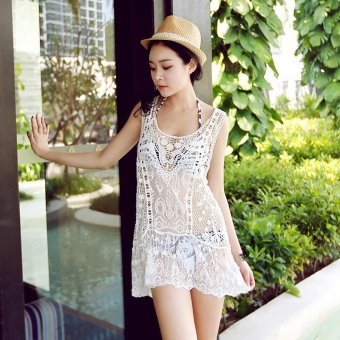 Summer Women beach Blouse Hollow out Flower dress Lace Crochet bikinis beach coat Sunscreen clothing - intl