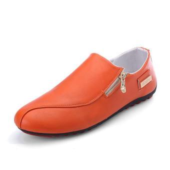 HangQiao Source · Menggantung Qiao Fashion Pria Sepatu Casual Sepatu Kacang Loafers Sepatu Mengemudi Jeruk 5