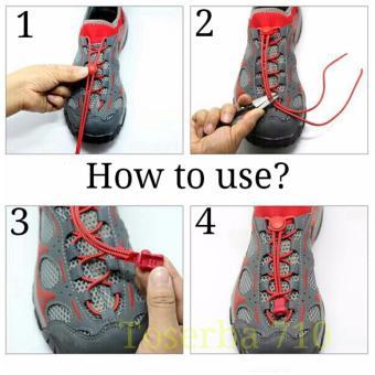 ... Detail Gambar Tali Sepatu Praktis Elastis Shoe Lock Lace Laces No Tie Elastic