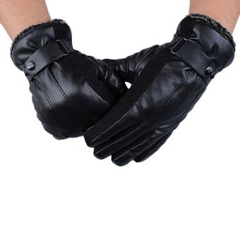 Haid kulit mewah super mengemudi sarung tangan musim dingin yang hangat kasmir Hitam .