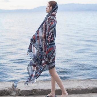 Fashion shawl cotton scarf beach scarves(Blue) - intl ...