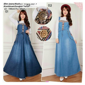 168 Collection Maxi Dress Adelia Jeans Overall-Biru Tua ...