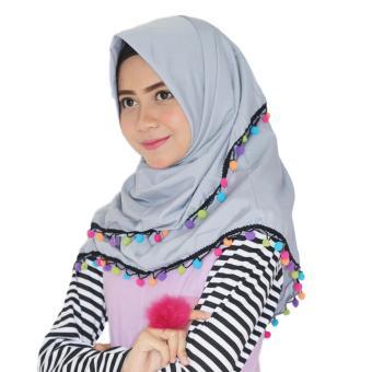 Paket Parisku Segiempat Katun Candy Grey Plus Klip Jilbab Dan Inners Ciput -