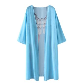Wanita Fashion Wing Cetak Kimono Cardigan longgar Pantai Cover Up tahan dr (XL)