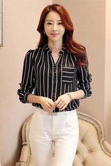 Menggantung-Qiao Panas Gaya Korea Jual Baju Wanita Atasan Bergaris V-Leher Blus Hitam