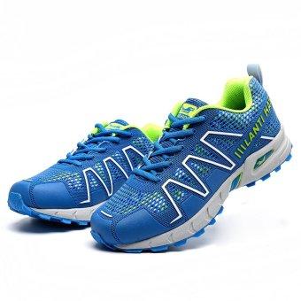 PINSV Men Fashion bernapas olahraga lari sepatu (biru)- International -