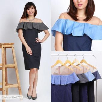 Harga Arina Plain Two Tone Mini Dress - Blue