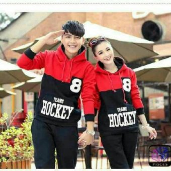 FASHION FLOWER-SWEATER COUPLE HOODIE HOCKEY 8-RED BLACK