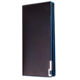 Harga Men Wallets Long Thin Wallet Male Money Purses Flip Up Wallet blue - intl