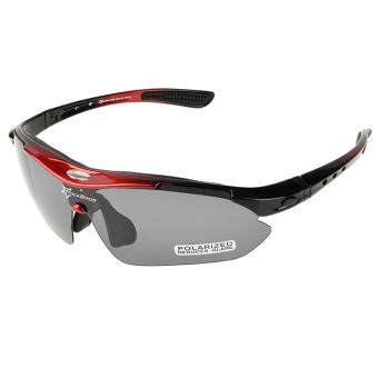Pria bersepeda terpolarisasi kacamata hitam olahraga luar ruangan kacamata sepeda kacamata dengan 5 lensa (merah