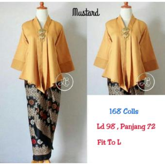 Harga 168 Collection Atasan Blouse Moniq Abaya dan Rok Lilit Batik-Mustard