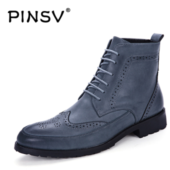 Harga PINSV Men's Brogue Leatehr Boots Casual Business Boots Ankle Boots A23 (Blue) - intl