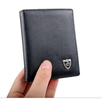 Fashion Black Leather Front Pocket Wallet Purse Bifold Money Clip Credit Card Holder - intl ...