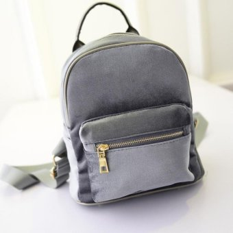 Harga Amart Women Velvet Backpacks Fashion Girls Zipper Street Bags Grey)