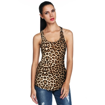 Harga Sexy Women O-Neck Leopard Stretch Slim Tank Tops Sleeveless Casual Club Wear - intl