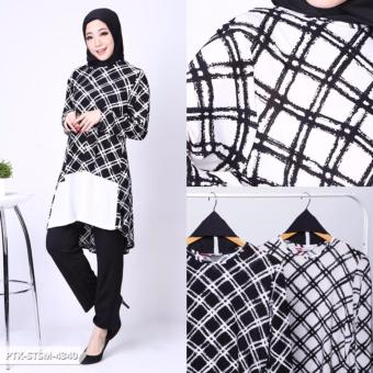 Devexexy Monochrome Longsleeve Muslim Set - White, 39.000, Update. Dabifha Two Tone Layer