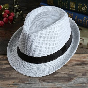 Unisex Summer Beach Jazz Hat Wide Brim Beach Cap Sun Trilby Fedora Straw Hat-White