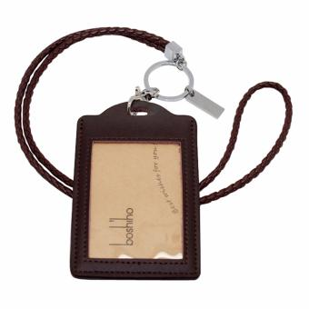Boshiho Vertical Style Leather ID Card Badge Holder with Keychain Lanyard(Brown with Keychain) - intl